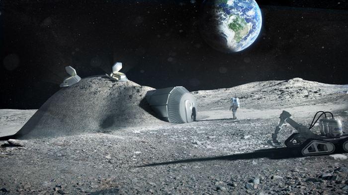 Le rendu d'un habitat lunaire potentiel, comportant des éléments imprimés en 3D avec un sol lunaire - Crédit: Agence spatiale européenne/Foster et Partners