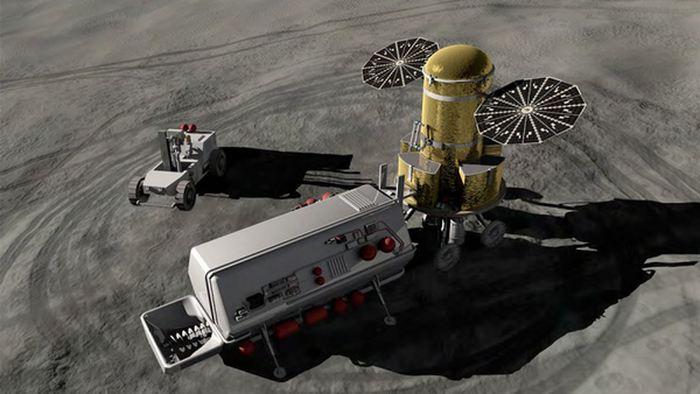 Illustration d'artiste sur ce que pourrait ressembler l'utilisation lunaire des ressources in situ - Crédit: NASA