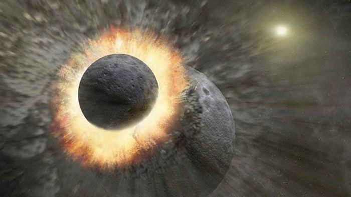Illustration d'artiste sur la collision entre la proto-Terre et un objet de la taille de Mars et on le sait en étudiant la lune - Crédit: NASA/JPL-CALTECH/T. Pyle