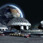 Représentation artistique d'une base lunaire avec une vue de la Terre au loin - Crédit : Pavel Chagochkin/Shutterstock.com