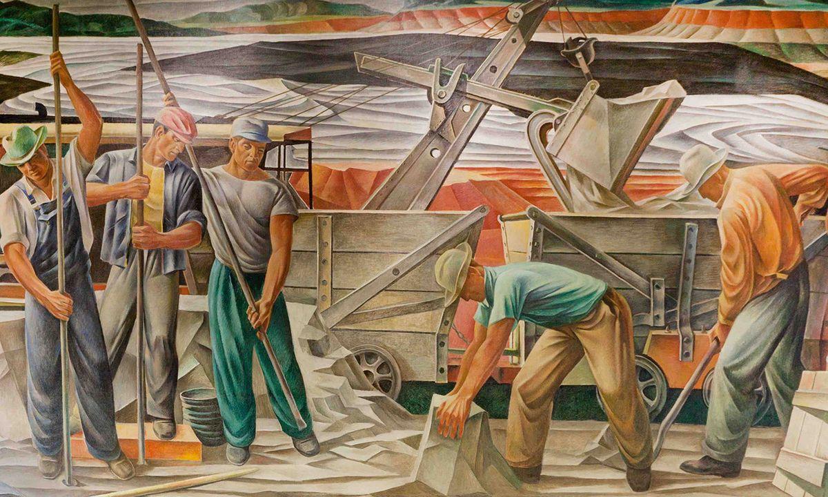 Peinture murale du bureau de poste Les mines de bauxite (1942) de Julius Woeltz - Crédit : Library of Congress