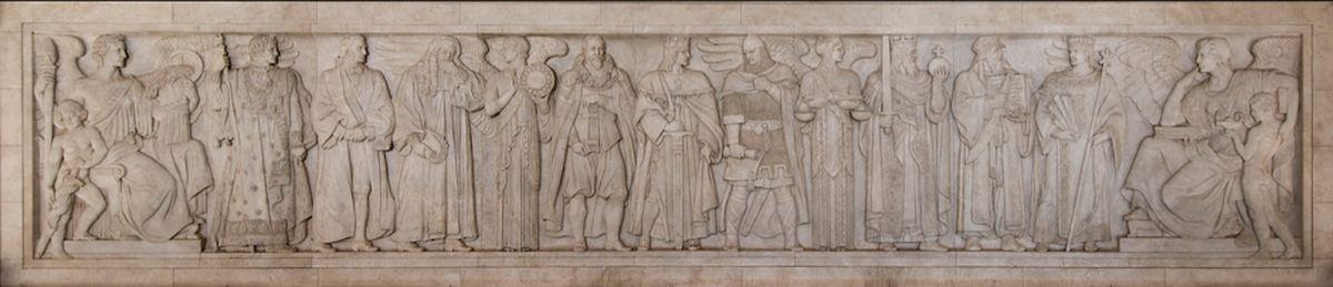 La frise sculptée de Adolph A Weinman, se trouvant à la Cour Suprême des Etats-Unis. Elle présente les Grands Hommes de l'Histoire comme Justinien, Charlemagne ou Mohammad (ce dernier est le second à partir de la droite, il tient un sabre et un texte).