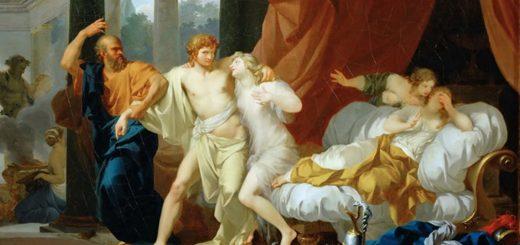 Socrate tirant Alcibiade de l'étreinte d'Aspasia (1785) de Jean-Baptiste Regnault qu'on peut voir au Louvre, Paris - Crédit : Wikipédia