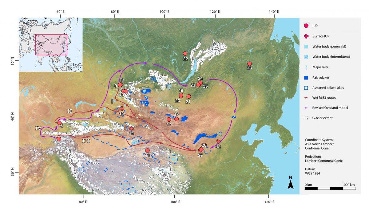 Un nouveau papier suggère que les climats plus humides auraient permis à Homo sapiens de s'étendre dans les déserts d'Asie centrale il y a 50-30 000 ans.