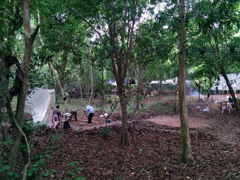 L'équipe de l'auteure, chargée de fouiller les monticules d'occupation autour du temple d'Angkor Vat. Bien que cette zone soit maintenant couverte d'arbres denses, il y avait autrefois des maisons sur ces monticules - Crédit : Alison Carter, CC BY-ND