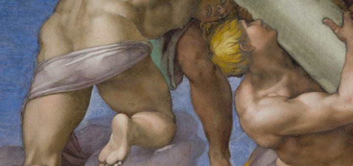 Un ange guidant une colonne, extrait du Jugement dernier (1534-1541) de Michel-Ange, Chapelle Sixtine au Palais du Vatican - Crédit : Wikipedia