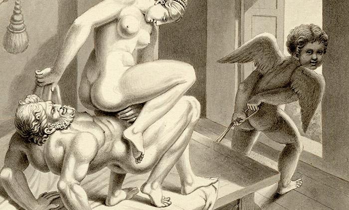 """Fig 6. Détail de la reconstruction du """"I Modi"""" par Jean-Frédéric Maximilien de Waldeck, c1850. Crédit : British Museum, Londres"""
