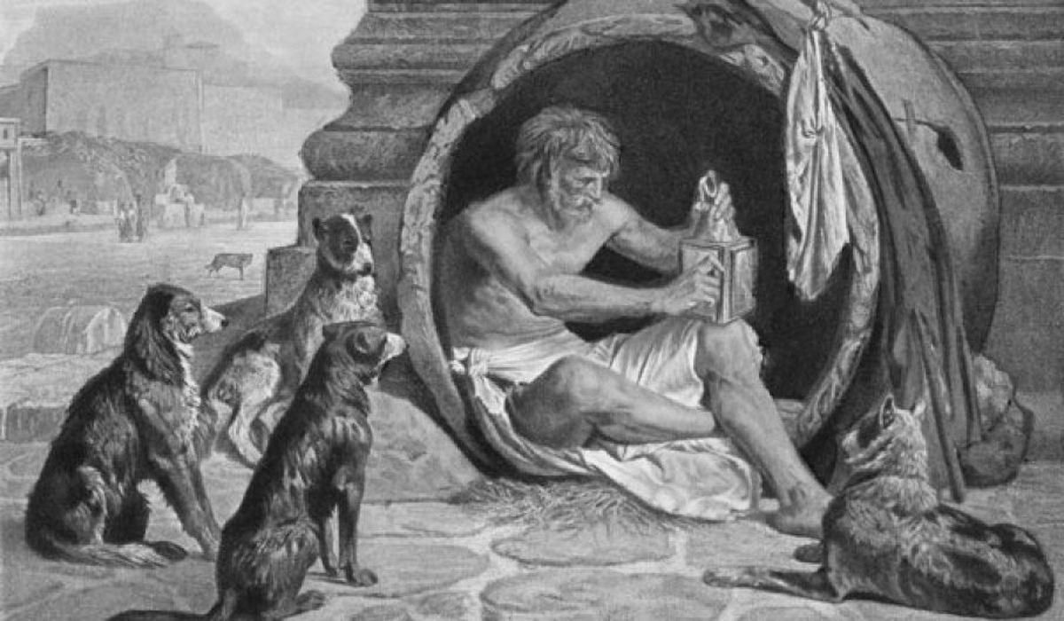 Une illustration de Diogène dans sa jarre