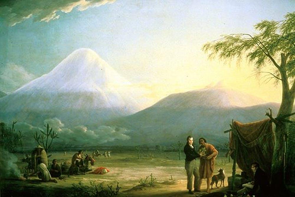 Humboldt et son collègue Aimé Bonpland devant le volcan Chimborazo en Equateur.