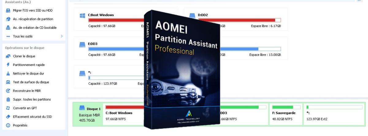 AOMEI Partition Assistant Pro est un logiciel complet et polyvalent pour partitionner et gérer vos disques durs dans les moindres détails.