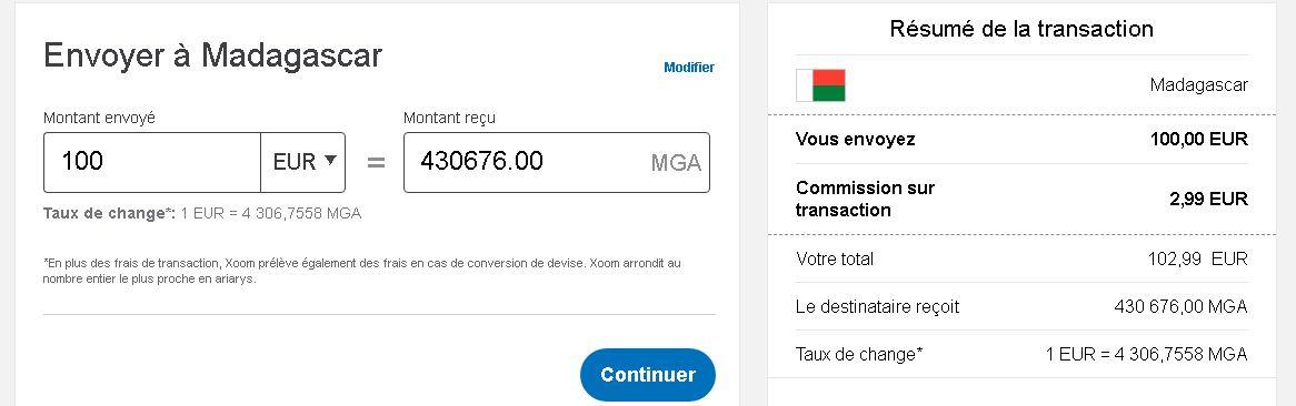 Xoom Madagascar est un service qui fait partie de Paypal qui permet de recevoir de l'argent à Madagascar. C'est équivalent à Western Union.