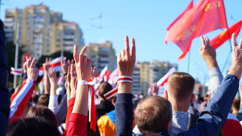 Demonstrasjon i Minsk.
