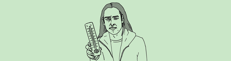 Tegning av redaktør Christian Kjelstrup som holder et termometer