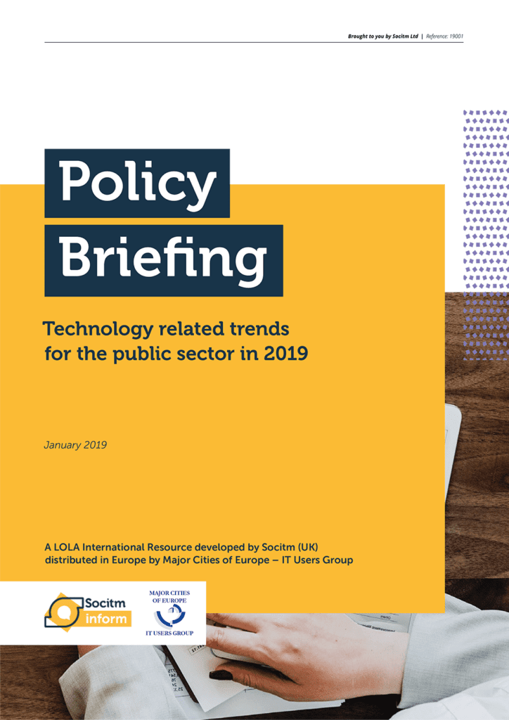Socitm Inform policy briefing: Technology related trends for the public sector in 2019