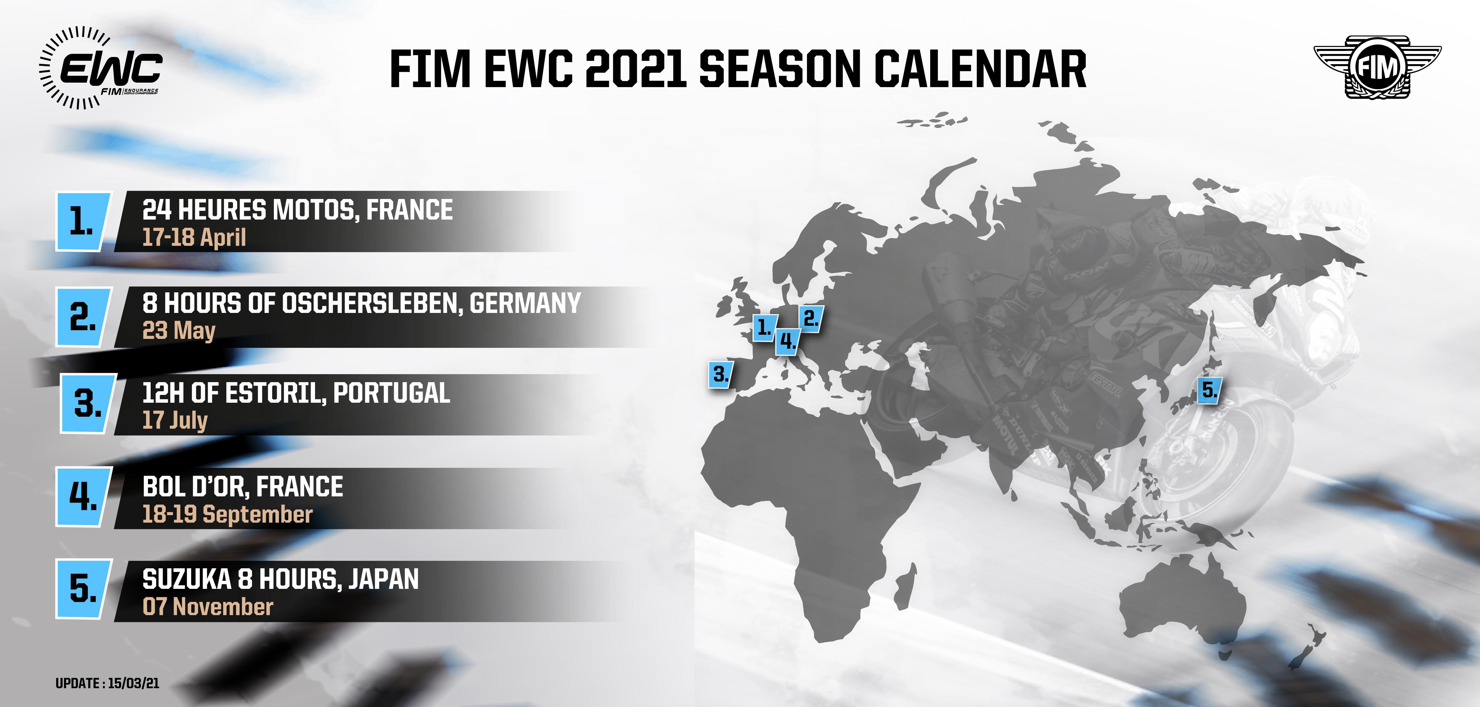 2021 FIM EWC calendar