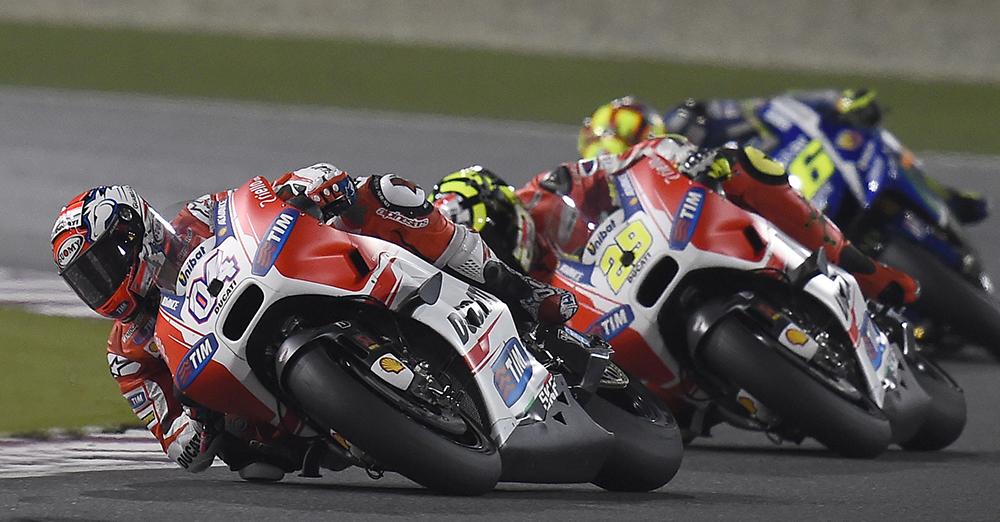 Andrea dovizioso e andrea iannone ducati motogp qatar 2015