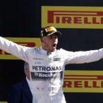 Mercedes Formula One driver Hamilton celebrates his victory in the Italian F1 Grand Prix in Monza