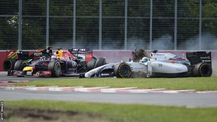 Sergio Perez, Sebastian Vettel and Felipe Massa
