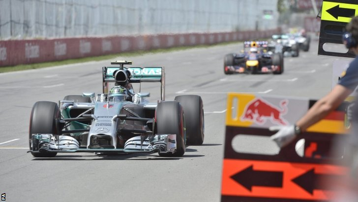 Mercedes driver Nico Rosberg leads the pack after a restart