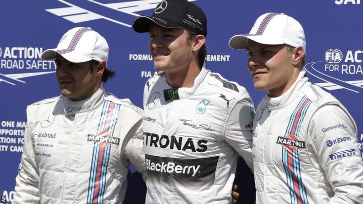 (left to right) Felipe Massa, Nico Rosberg, and Valtteri Bottas
