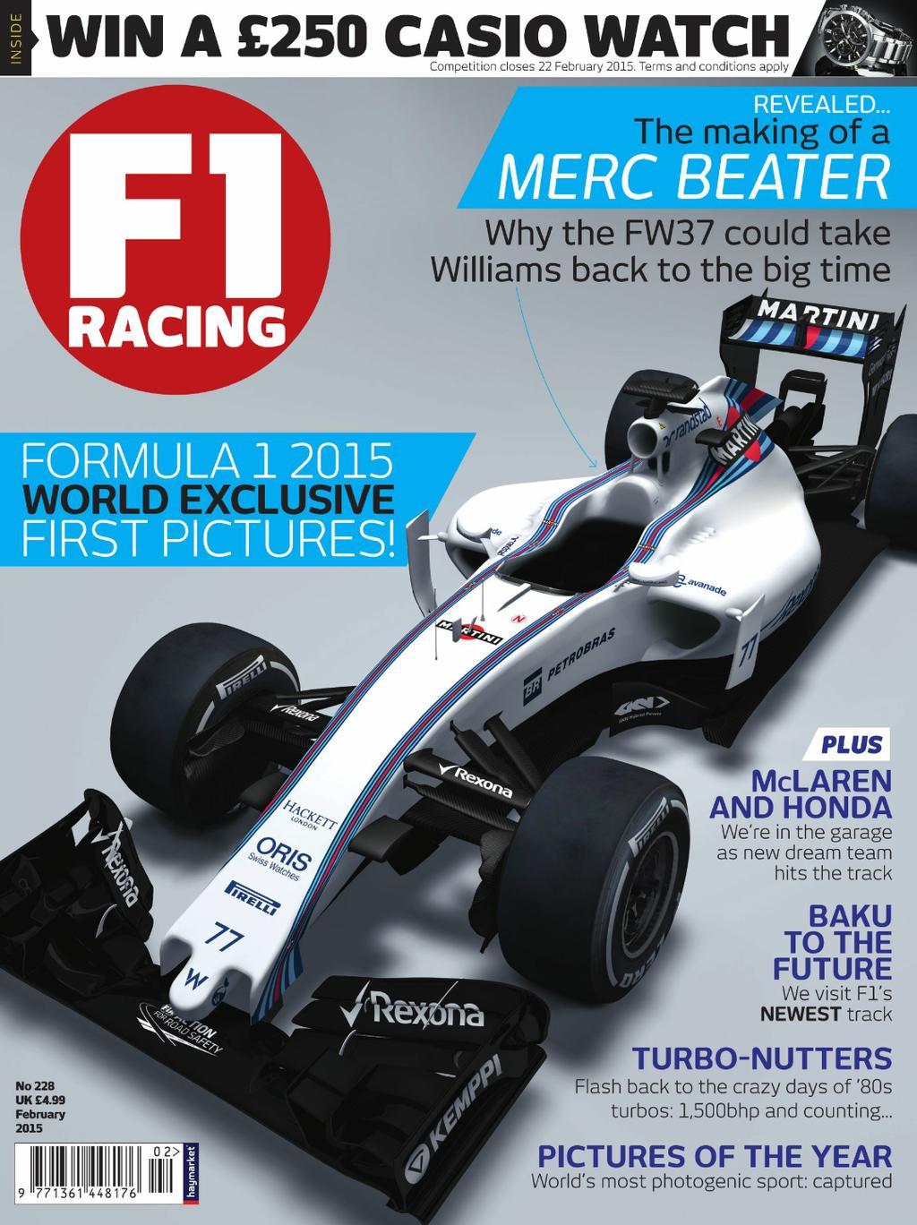 Williams FW37 F1 Racing magazine cover, 2015
