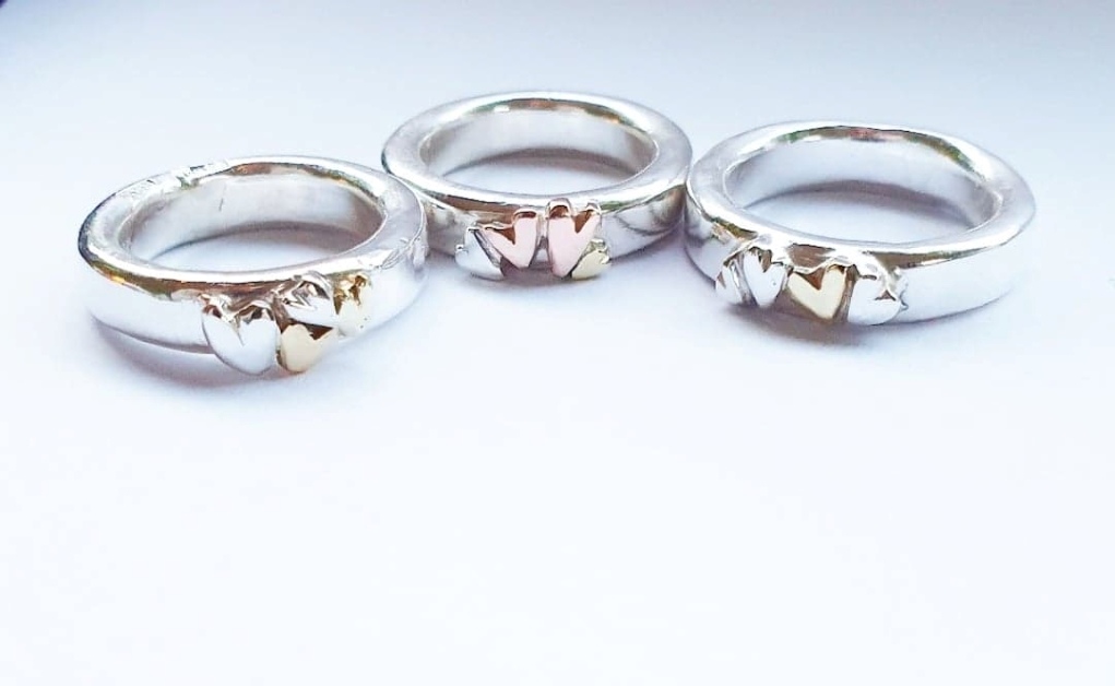 Handgjorda silverringar chunky 4 hjärtan
