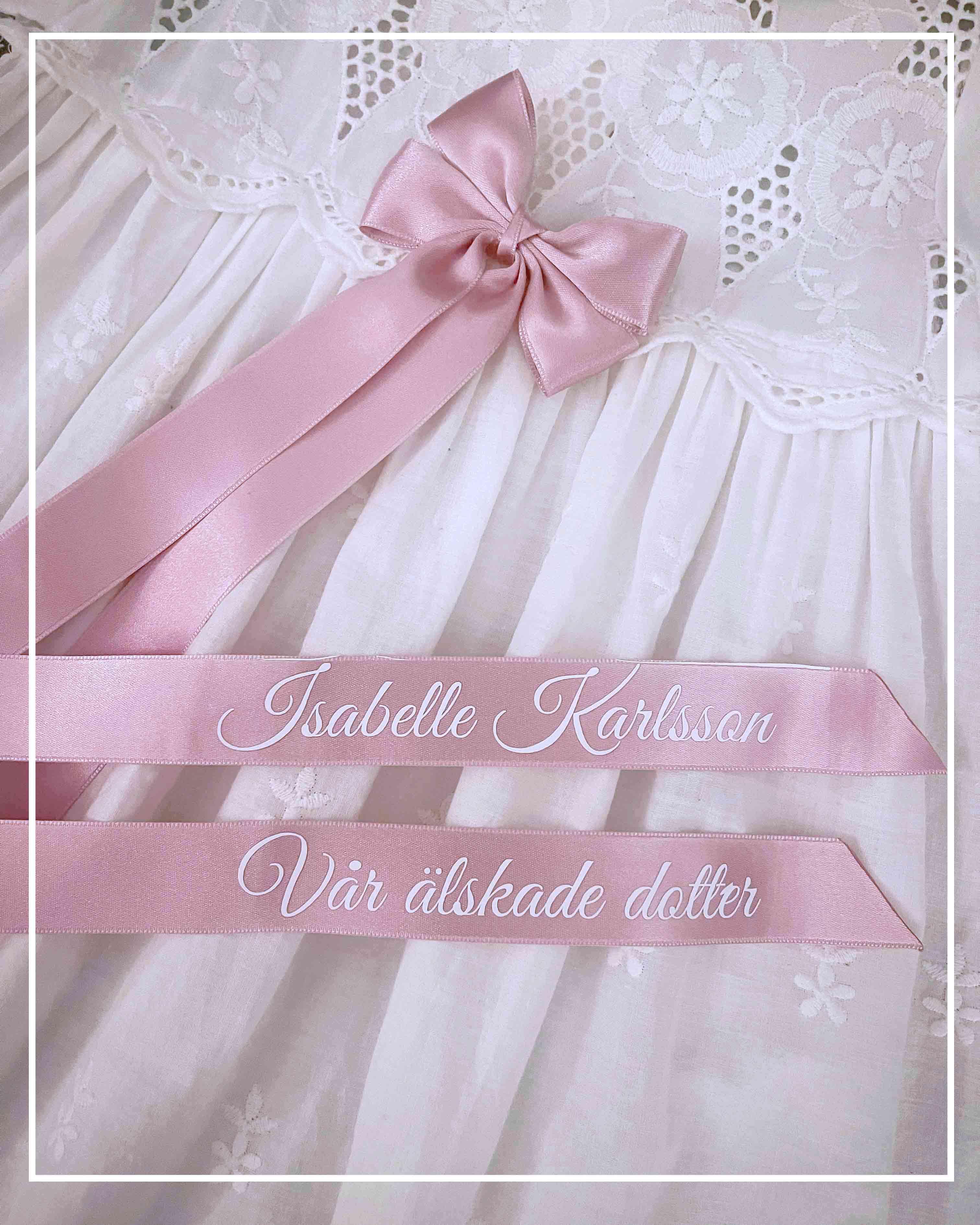Doprosett i rosa med namn