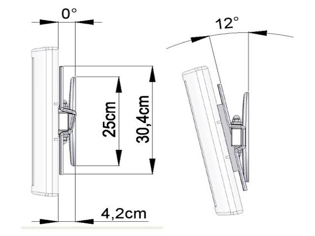 HDconnect manuellt 180 graders väggfäste, måttskiss