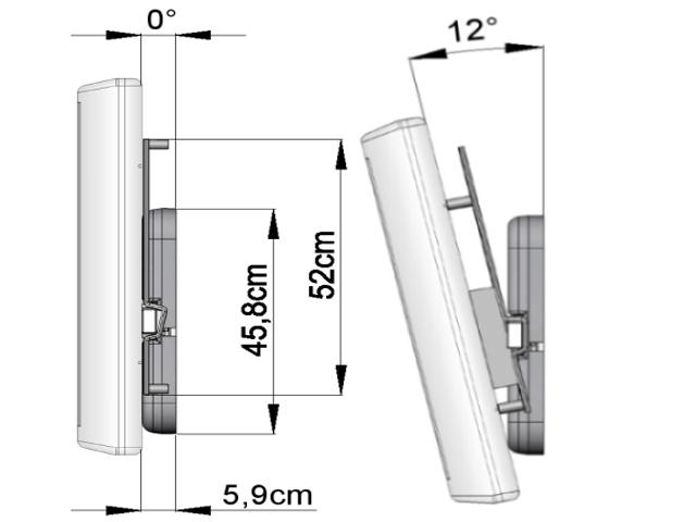 HDconnect manuellt väggfäste 180 grader, Magna, hålbild väggplatta