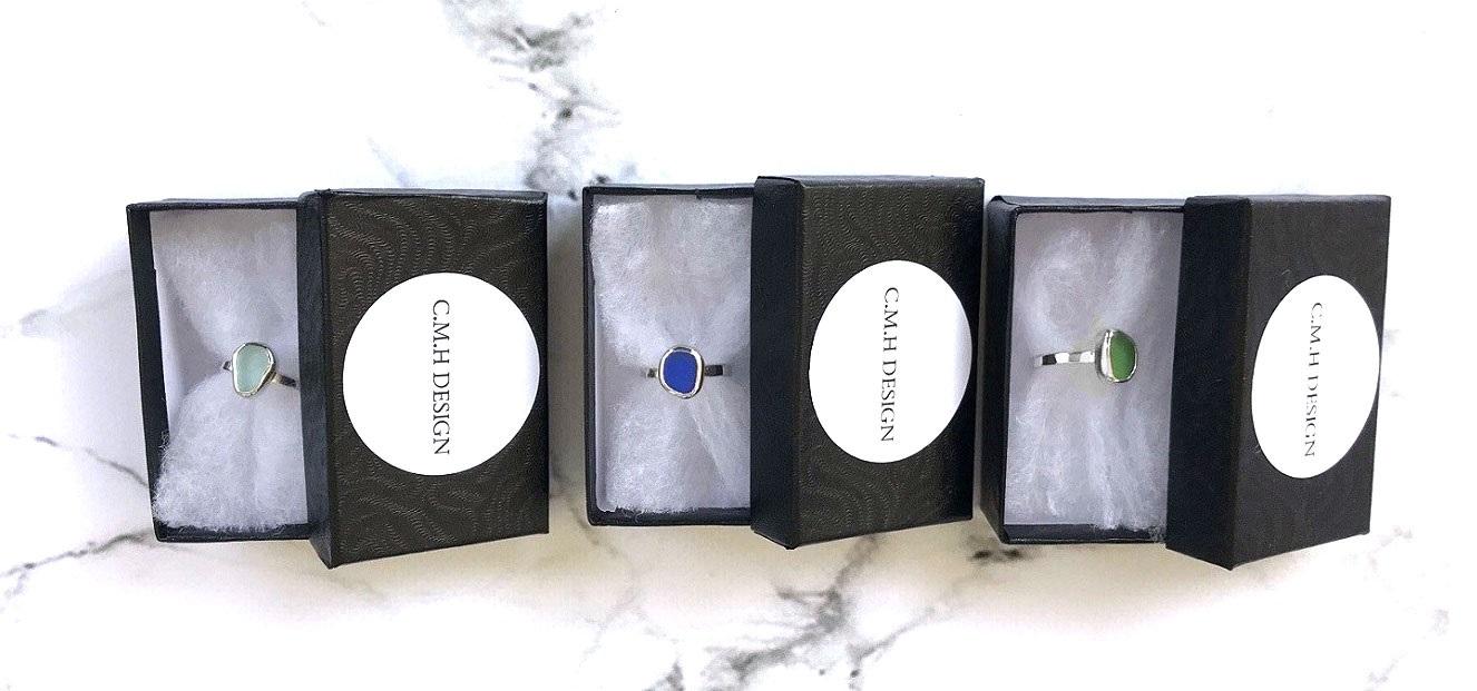 Sjöglas ringar i äkta silver. Havsglas ringar