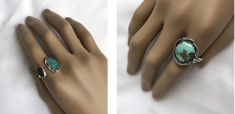 Turkos ringar i äkta silver handgjorda ringar med turkos sten