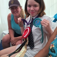 Felicity Julian shows off her Championship Rosette with Elaine Briggs, Epsom Group Coach