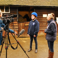 Ella from Court Meadow is interviewed by ITV cameraman Malcolm Shaw