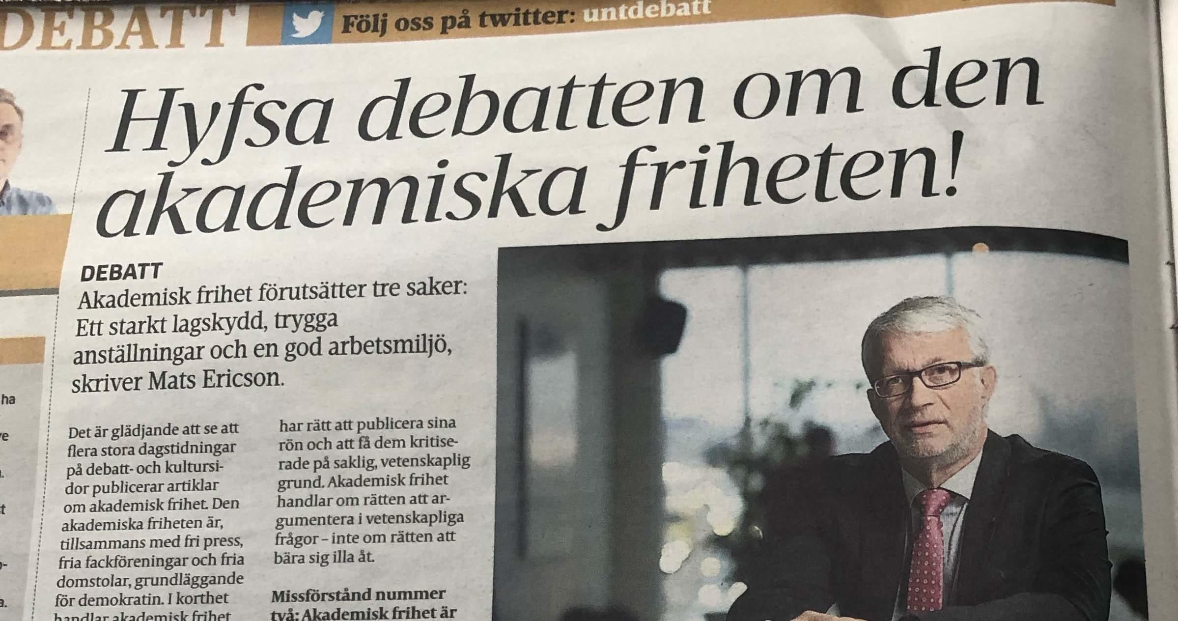 Faksimil från debattartikeln i Upsala Nya Tidning