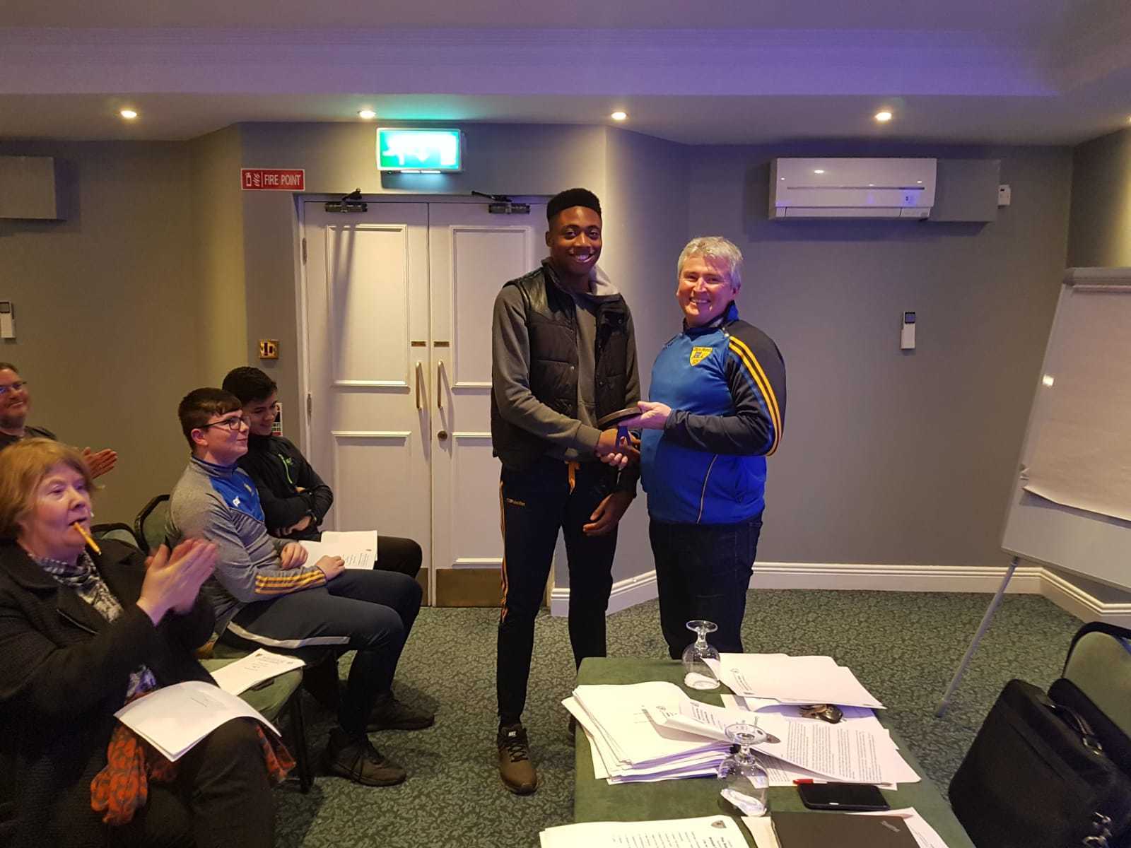 Chibby 20receiving 20award 20from 20conall 20mcnulty 20at 20agm