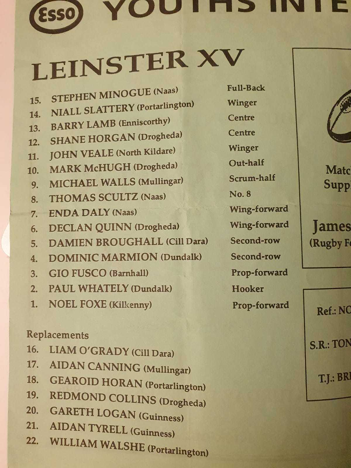 Leinster 20youths 201996 97
