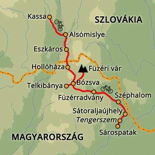 Sárospatak-Kassa kerékpártúra Szlovákia, Magyarország #mapImageWidget