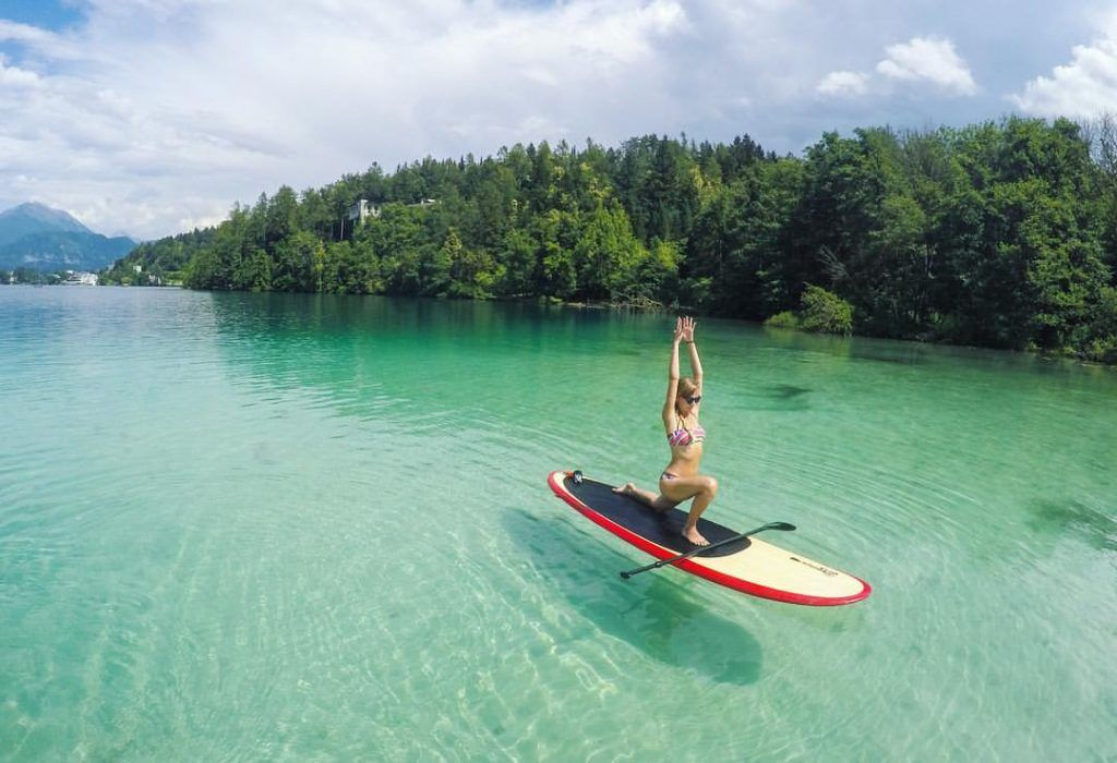 SUP Yoga in Bled (Stand Up Paddle) Slovenia, Lake Bled