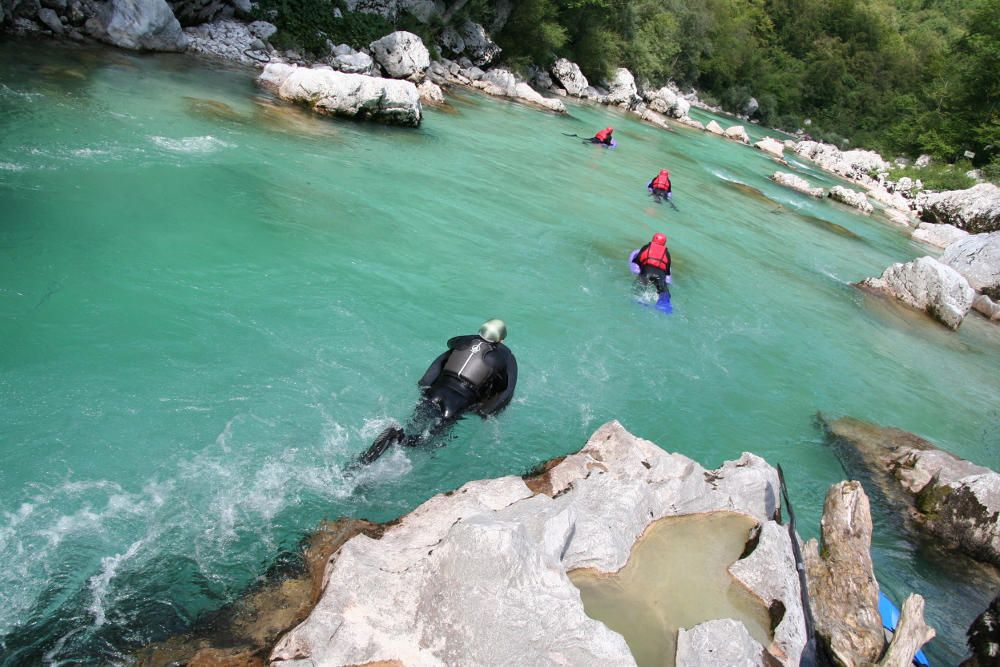 Thrilling Hydrospeed on Soca River Bovec, Soca river, Slovenia