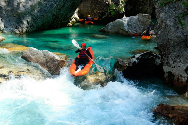 Easy whitewater kayak tour Bovec,Slovenia