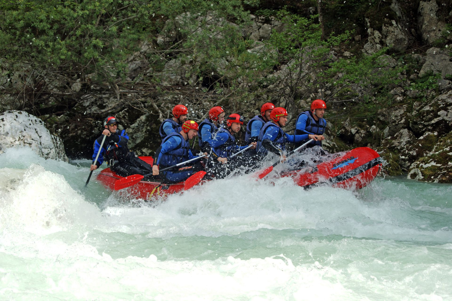 Rafting on Soca river in Bovec Bovec, Slovenia #ebcf5419-1a78-4688-b9db-07729876d44e