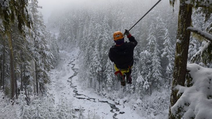 Winter Zipline in Bled Bled, Dolinka Valley, Slovenia