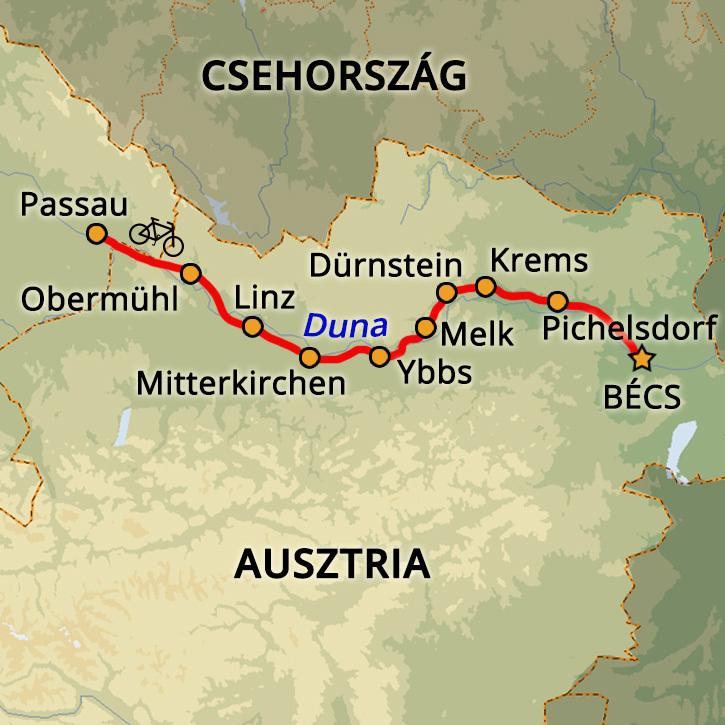 Passau-Bécs Kerékpártúra Wien, Ausztria #mapImageWidget