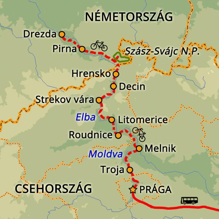 Kerékpártúra Prágától Drezdáig Csehország #mapImageWidget