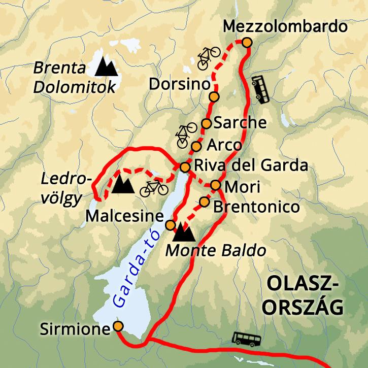 Kerékpáros hétvége a Garda-tónál Garda-tó, Olaszország #mapImageWidget