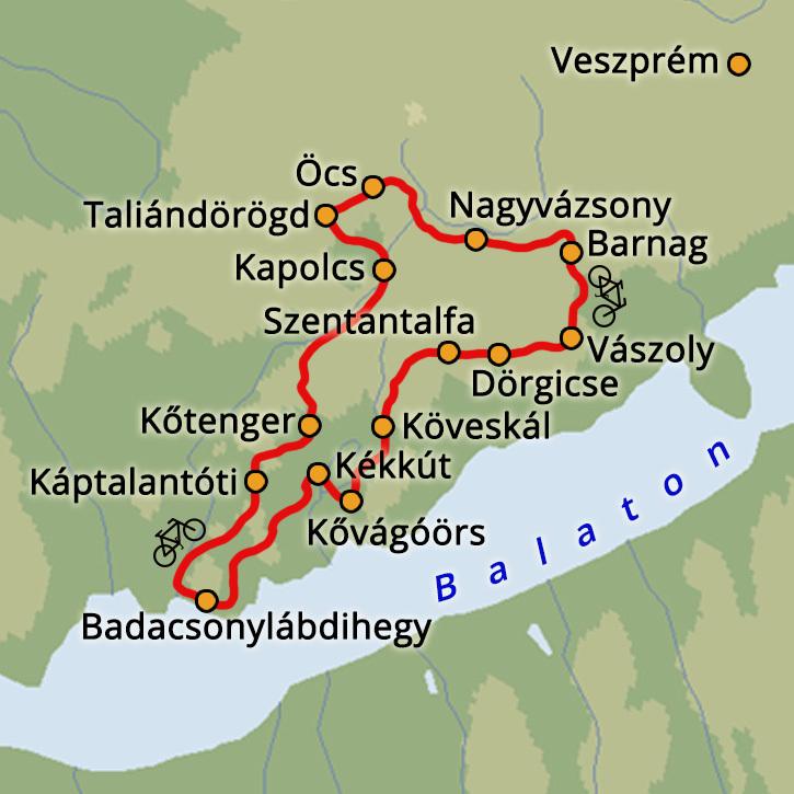 Kerékpártúra a Balaton-felvidéken Balatonfelvidék, Magyarország #mapImageWidget