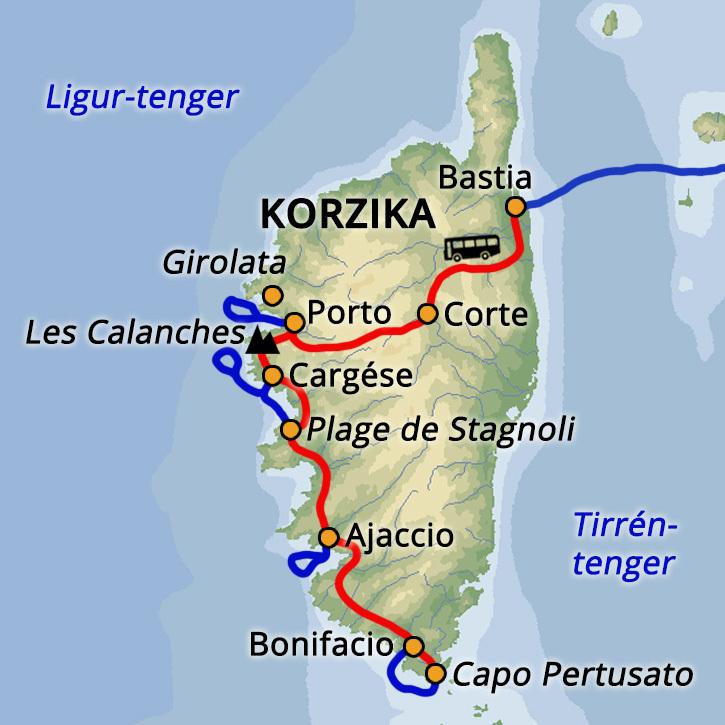Korzika nyaralás és tengeri kajak túra Korzika #mapImageWidget