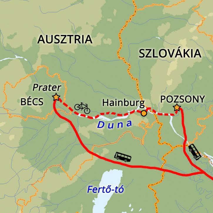 Bécs-Pozsony egynapos kerékpártúra Magyarország, Ausztria #mapImageWidget