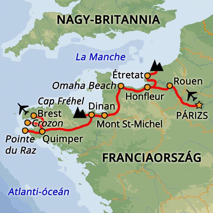 Bretagne és Normandia Franciaország #mapImageWidget