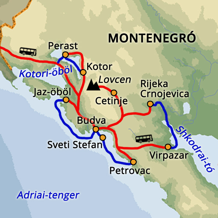 Montenegró nyaralás és tengeri kajak túra Montenegró #mapImageWidget